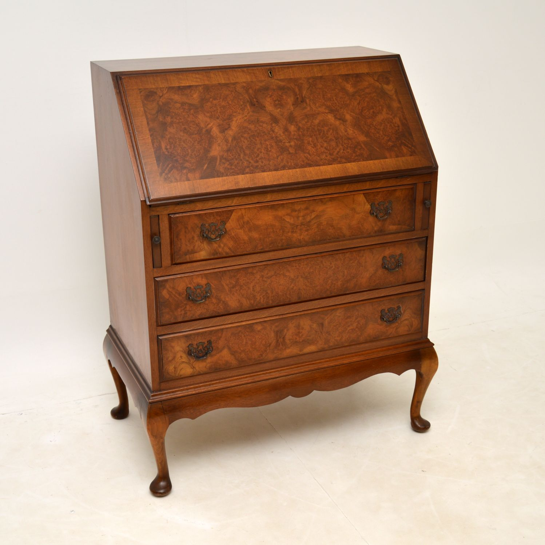antique burr walnut writing bureau