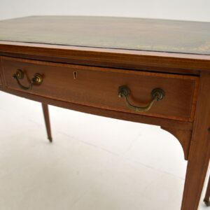 antique edwardian inlaid mahogany leather top desk writing table