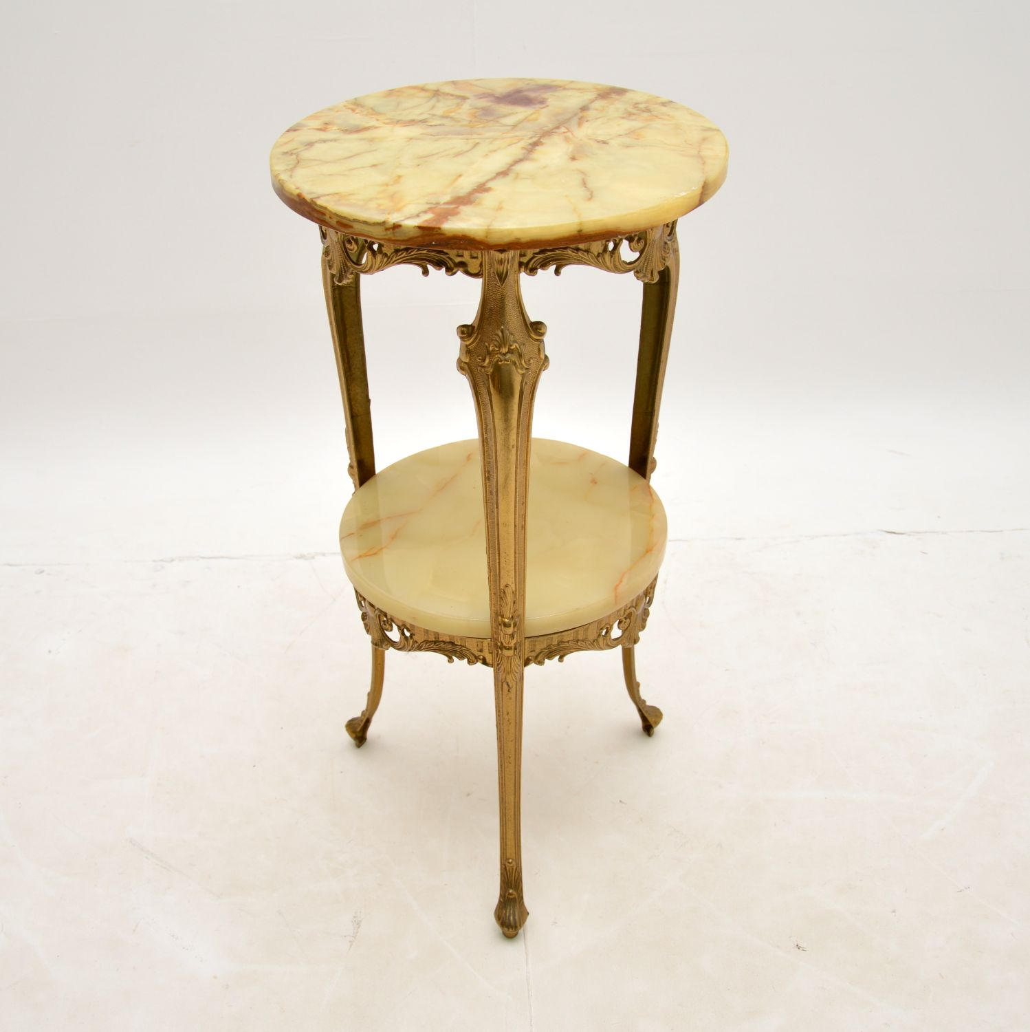antique french brass onyx marble side table