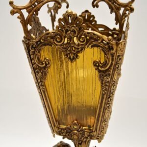 antique gilt metal glass cherub table lamp