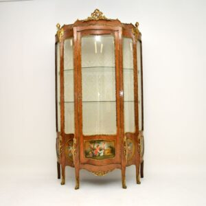 antique french ormolu mounted painted bombe display cabinet