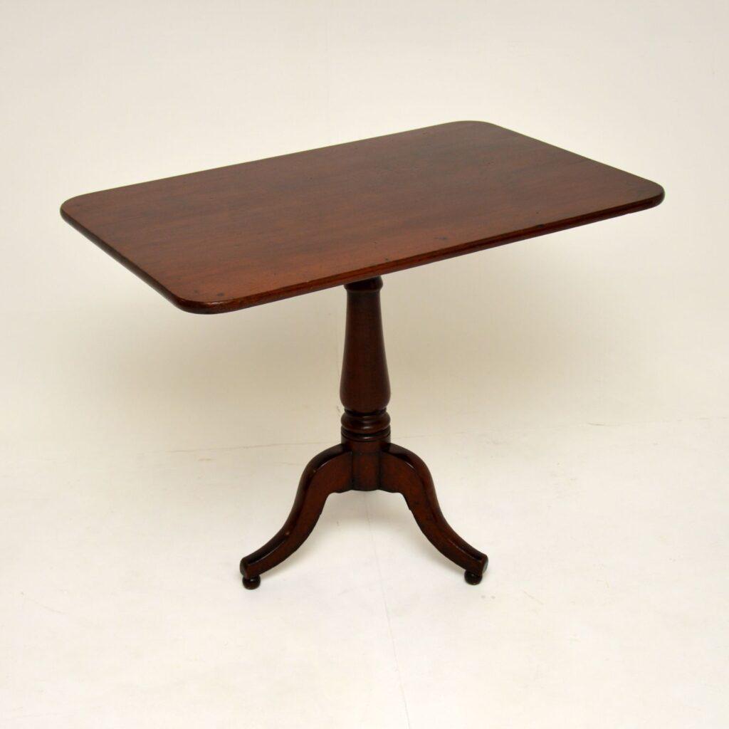antique georgian solid mahogany tilt top tripod occasional table