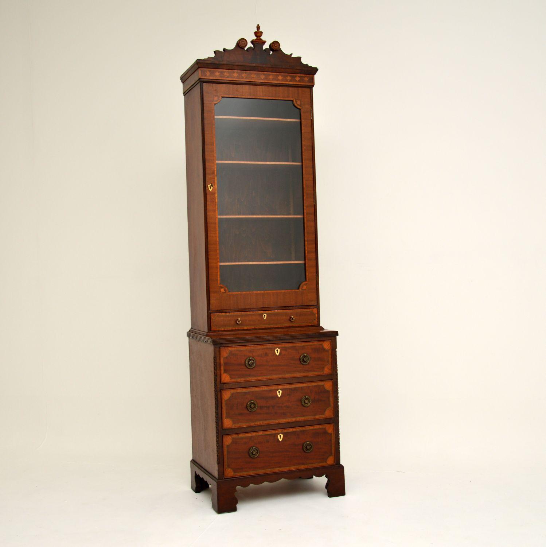 antique georgian sheraton period inlaid mahogany bookcase