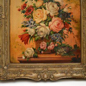 Antique Italian Still Life Oil Painting on Board