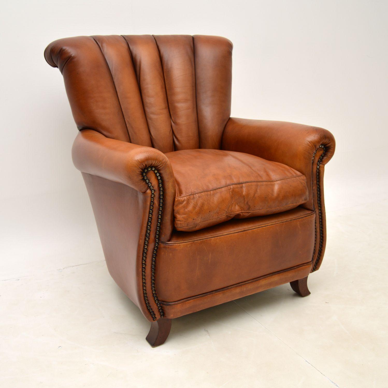 antique leather club armchair