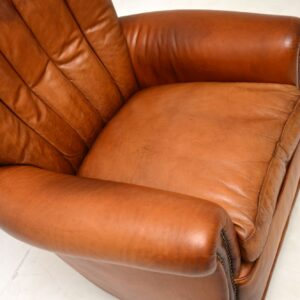 antique vintage french leather art deco club chair armchair