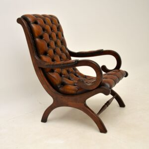 Antique Regency Style Leather Armchair & Stool