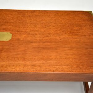 antique military campaign mahogany brass coffee table