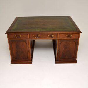 antique mahogany leather partners desk