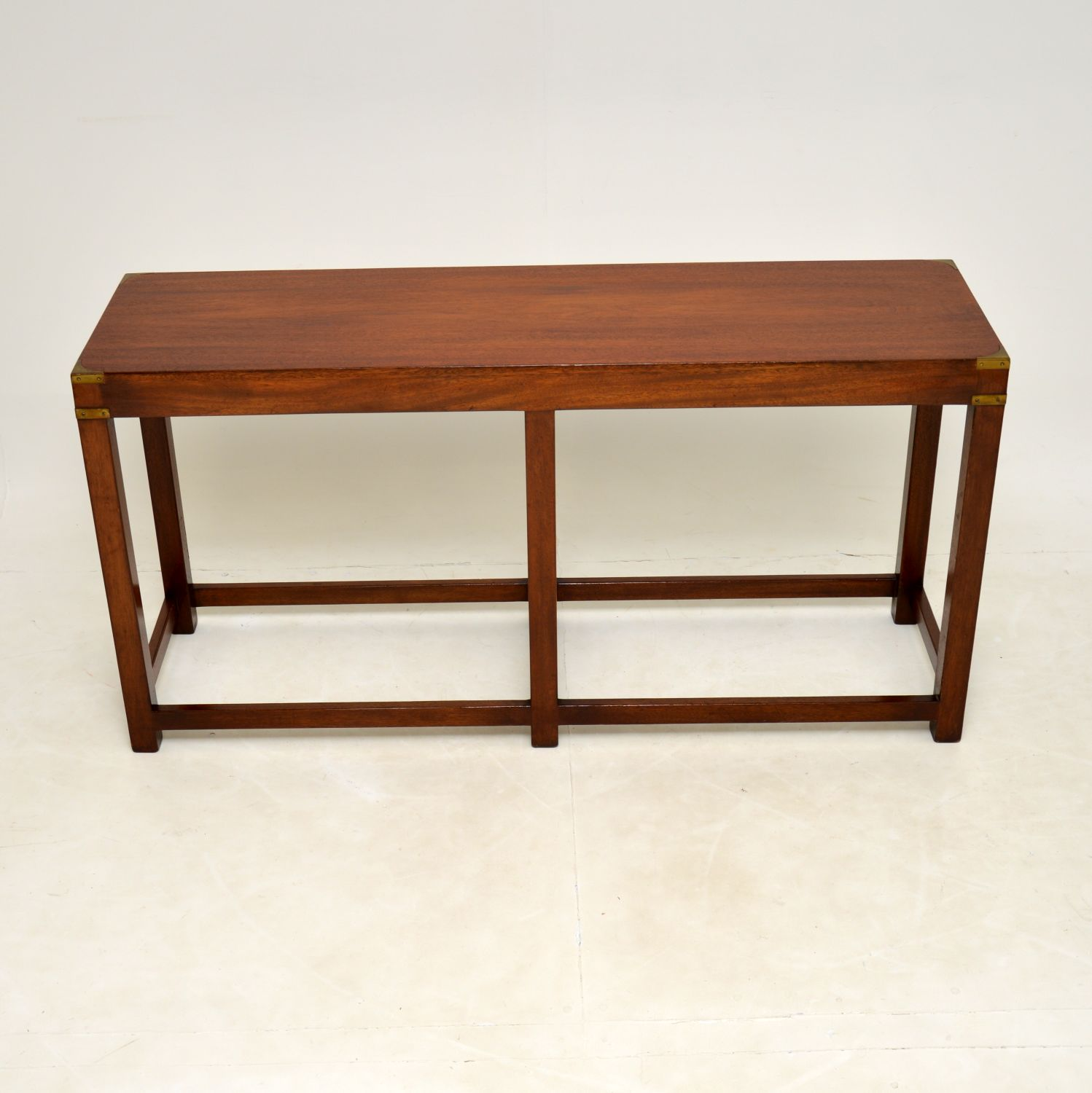antique mahogany brass military campaign console table