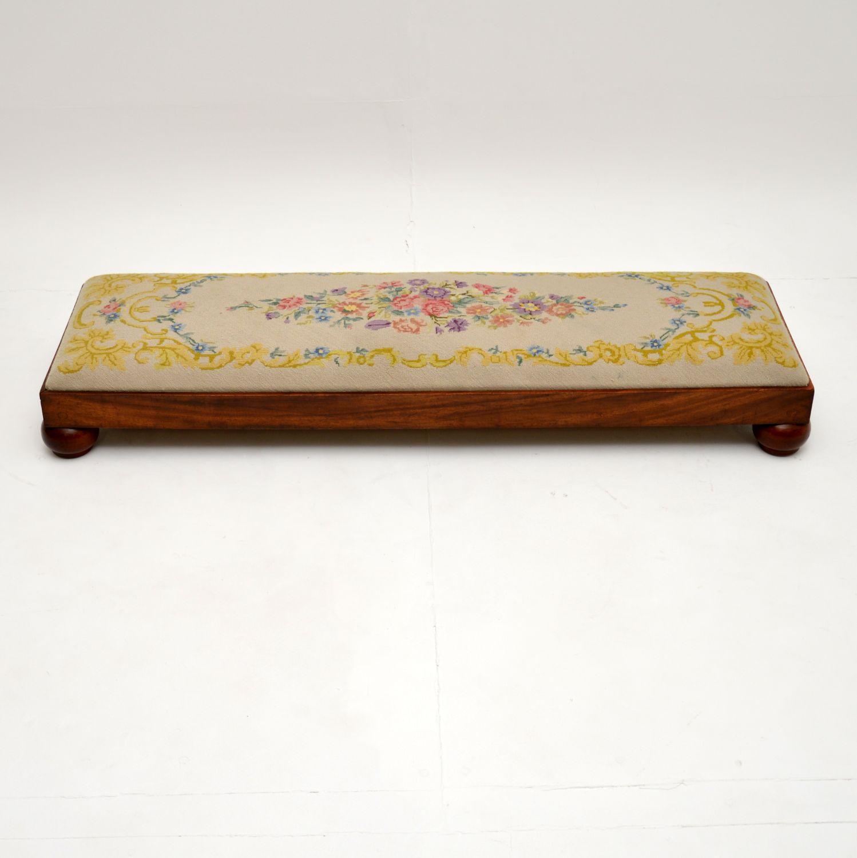 antique victorian walnut needlepoint tapestry foot stool