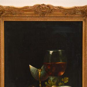 antique austrian still life oil on board painting fv knapp