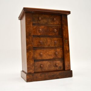 antique victorian burr walnut miniature wellington chest of drawers
