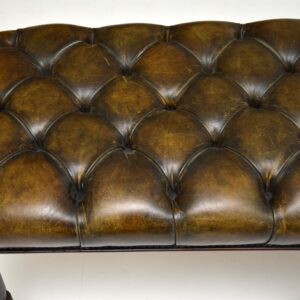 antique victorian leather mahogany stool bench