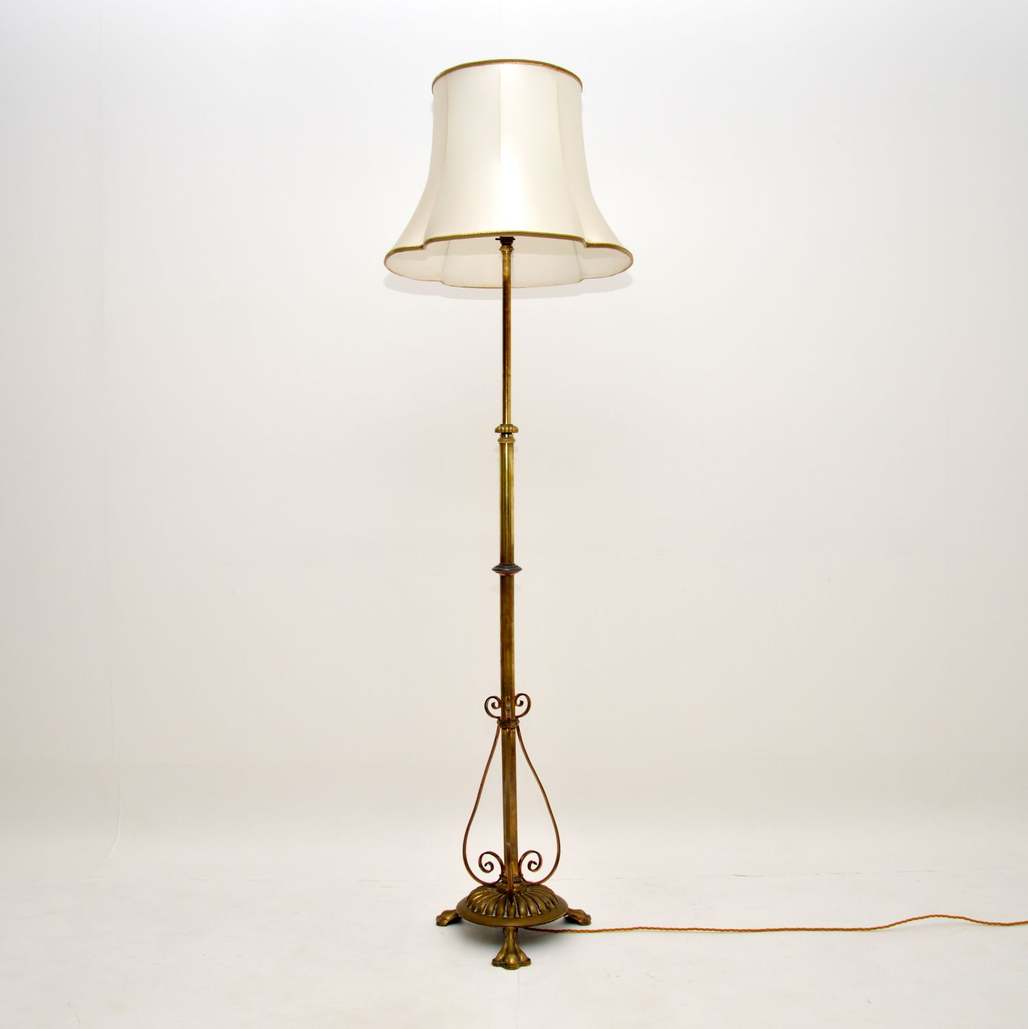 antique french solid brass rise and fall floor lamp