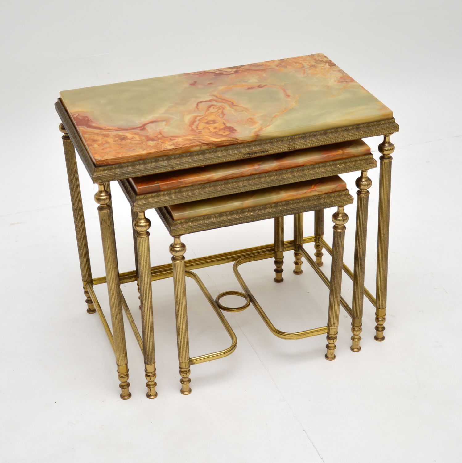 antique french solid brass onyx marble nest of three tables