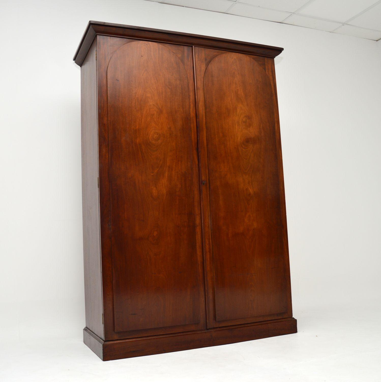 antique william IV fourth victorian mahogany wardrobe hall cupboard