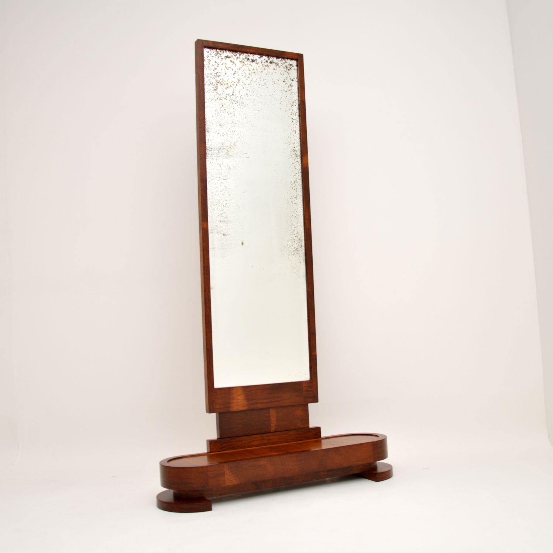 art deco retro vintage satin birch cheval floor mirror
