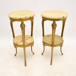 Pair of Antique French Brass & Onyx Side Tables
