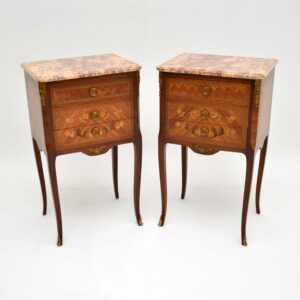 pair of antique french marble top bedside cabinets side tables