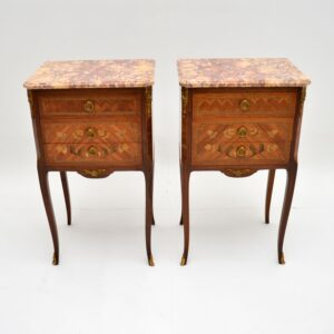 pair of antique french marble top bedside tables cabinets chests