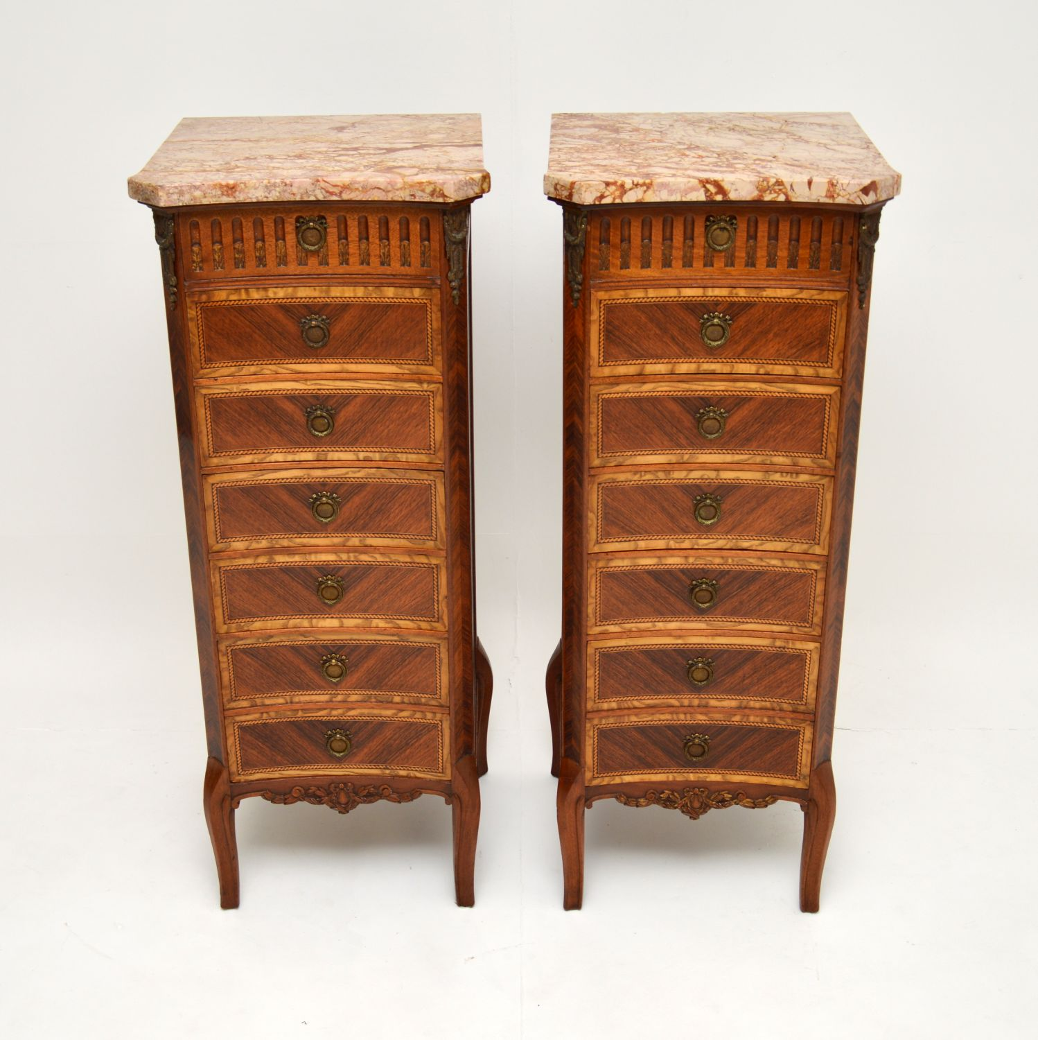 pair of antique french marble top chests of drawers