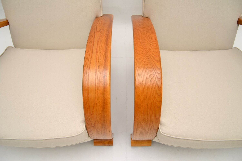pair of antique art deco swedish elm armchairs