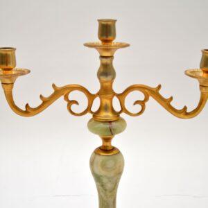 pair of antique onyx gilt metal candelabra