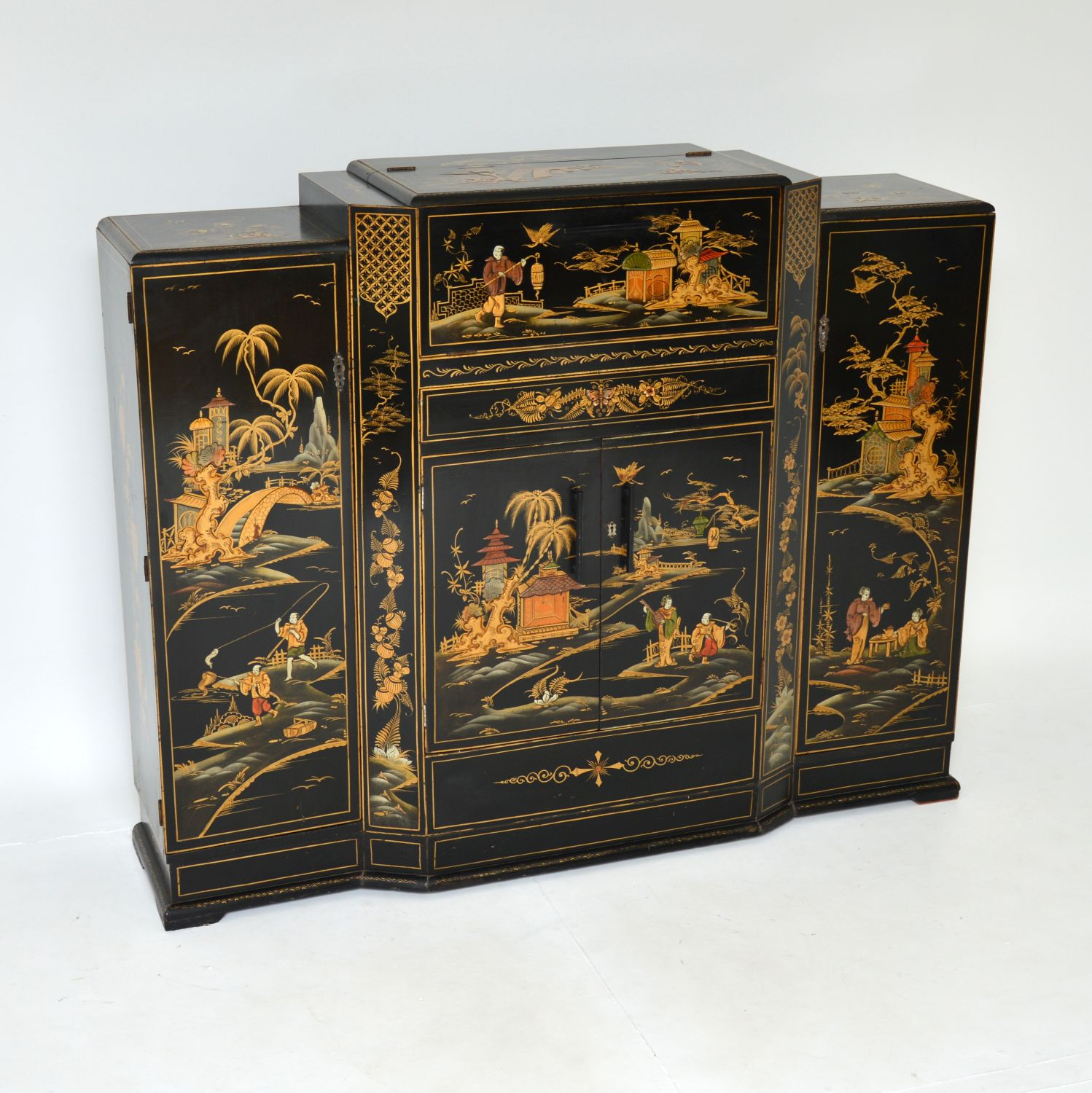 antique lacquered chinoiserie drinks cocktail cabinet sideboard