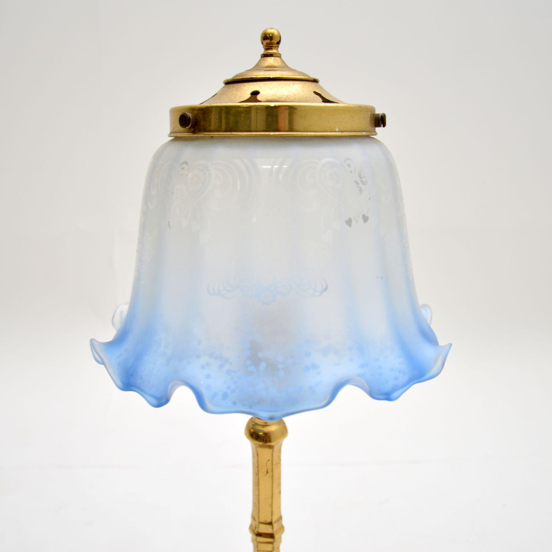 antique brass glass art nouveau table lamp