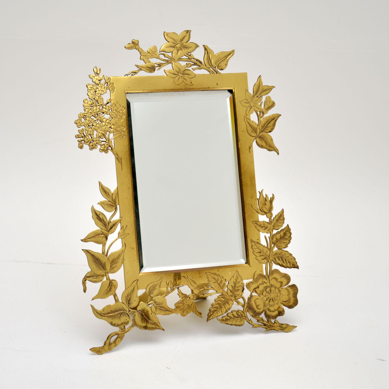 antique brass art nouveau mirror picture frame