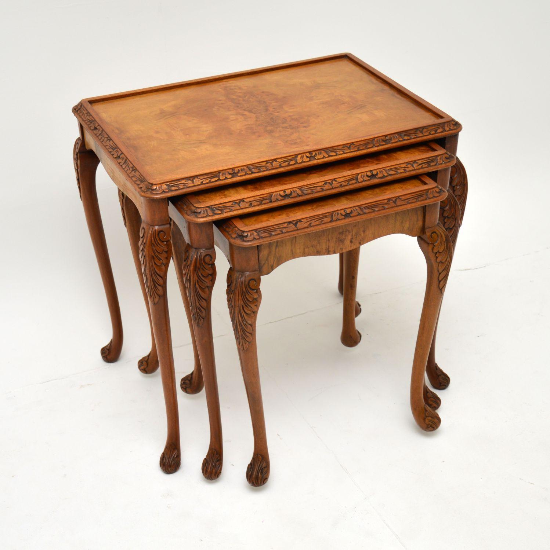 antique queen anne burr walnut nest of three tables