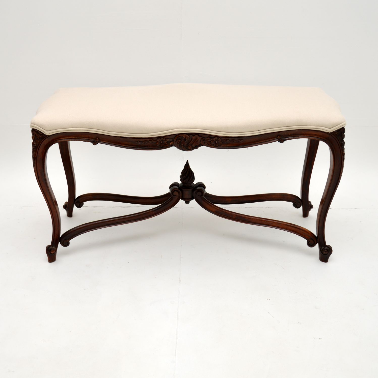 antique french carved walnut stool bench window seat