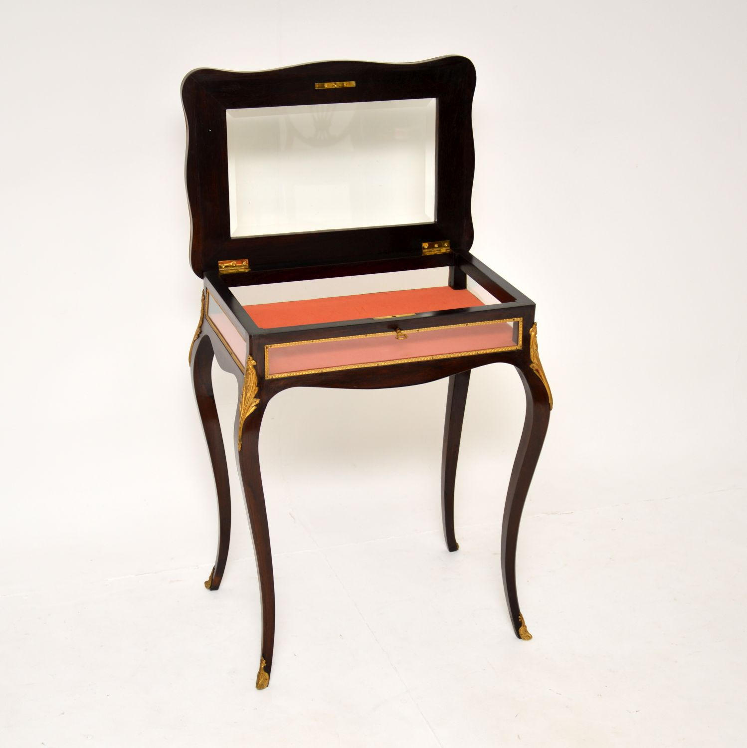 antique french inlaid rosewood bijouterie side display table case