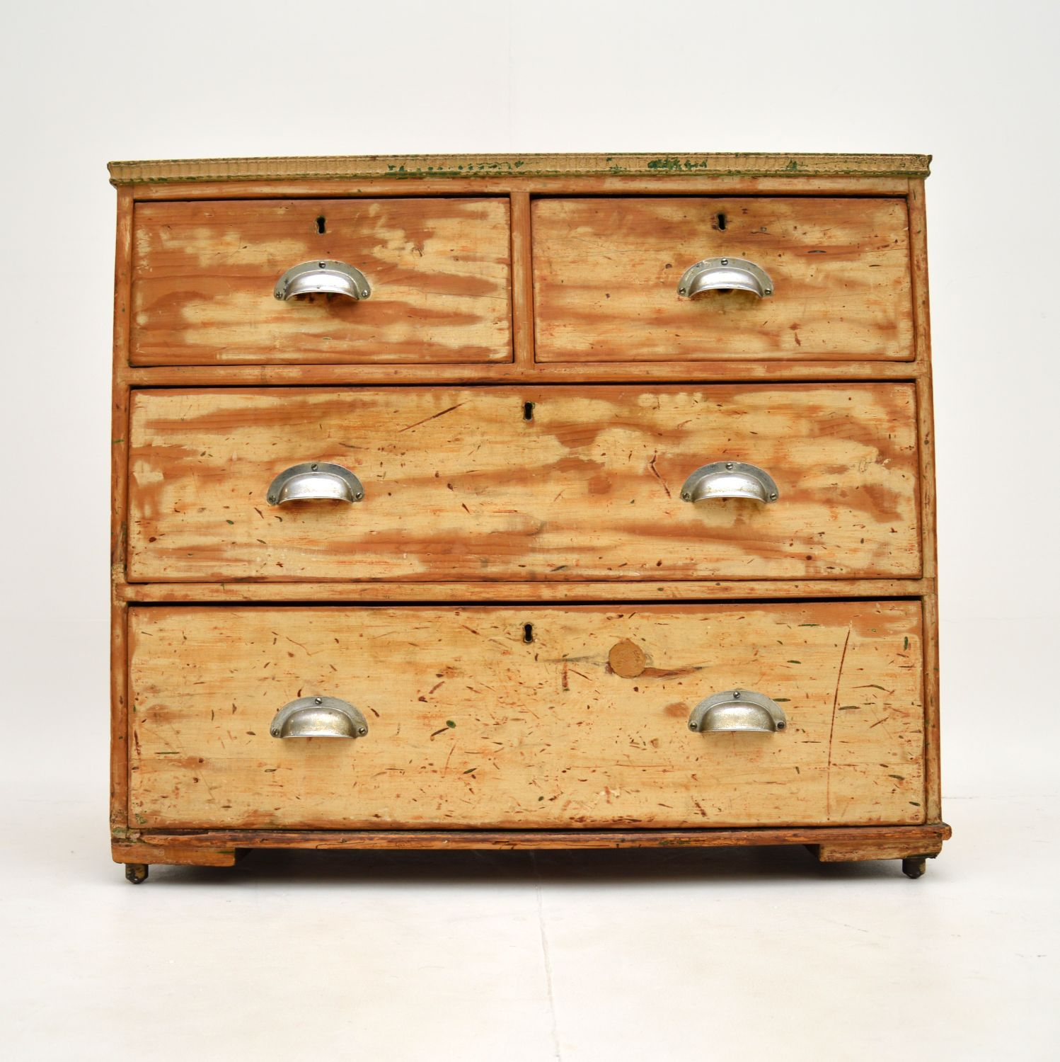 antique georgian distressed pine chest of drawers