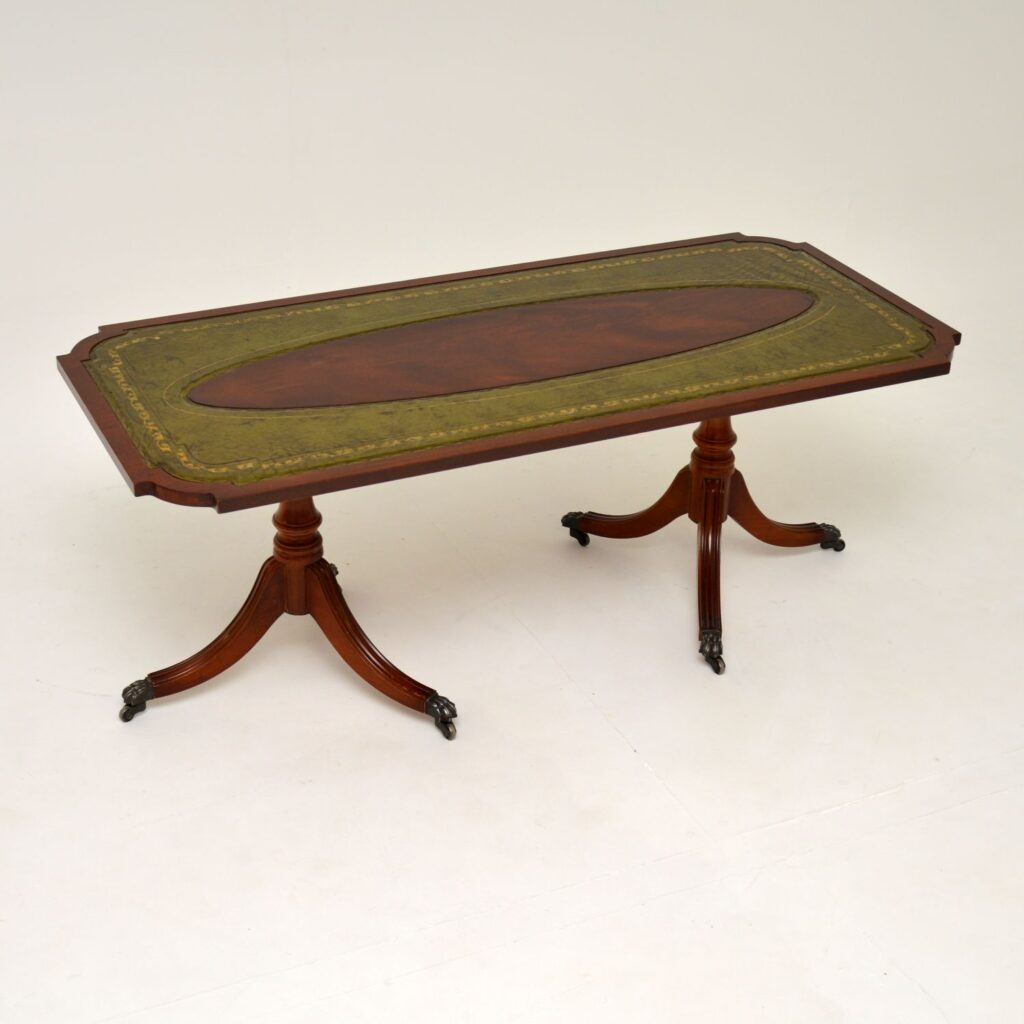 antique regency mahogany leather coffee table