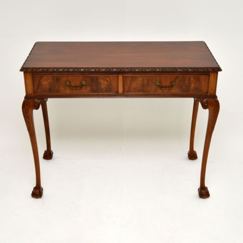 antique mahogany two drawer chippendale side table