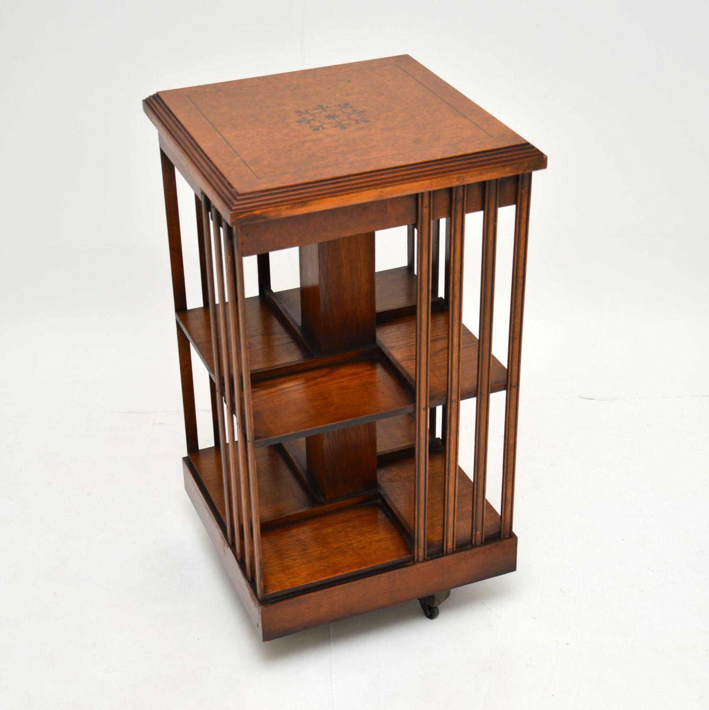 antique inlaid burr walnut bookcase