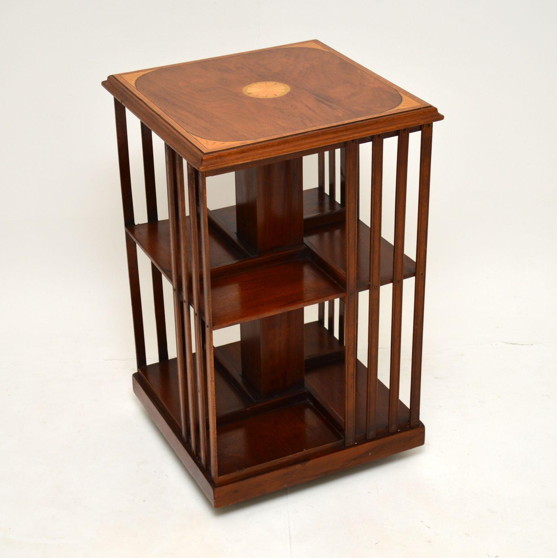 antique georgian edwardian inlaid mahogany revolving bookcase