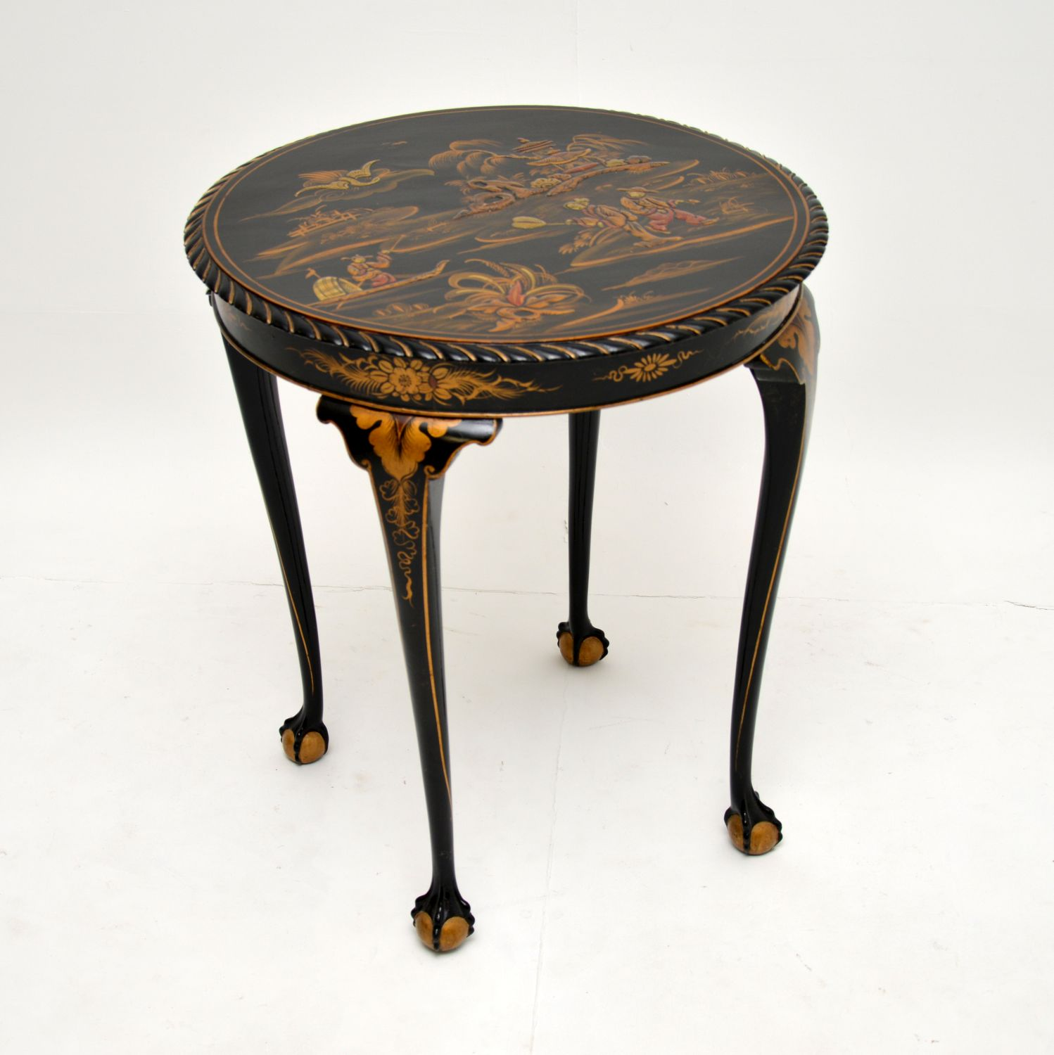 antique chinese lacquered chinoiserie occasional side table