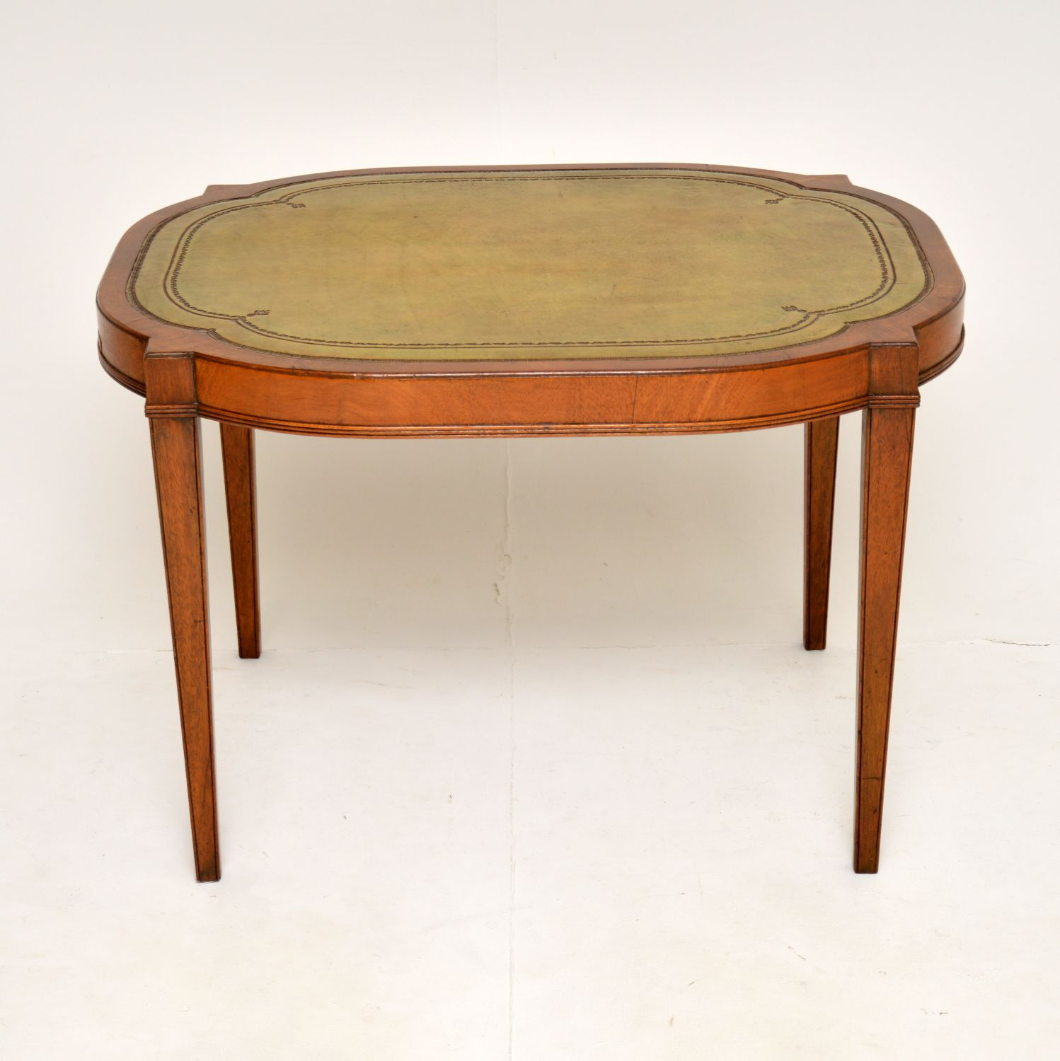 antique leather top mahigany coffee occasional table