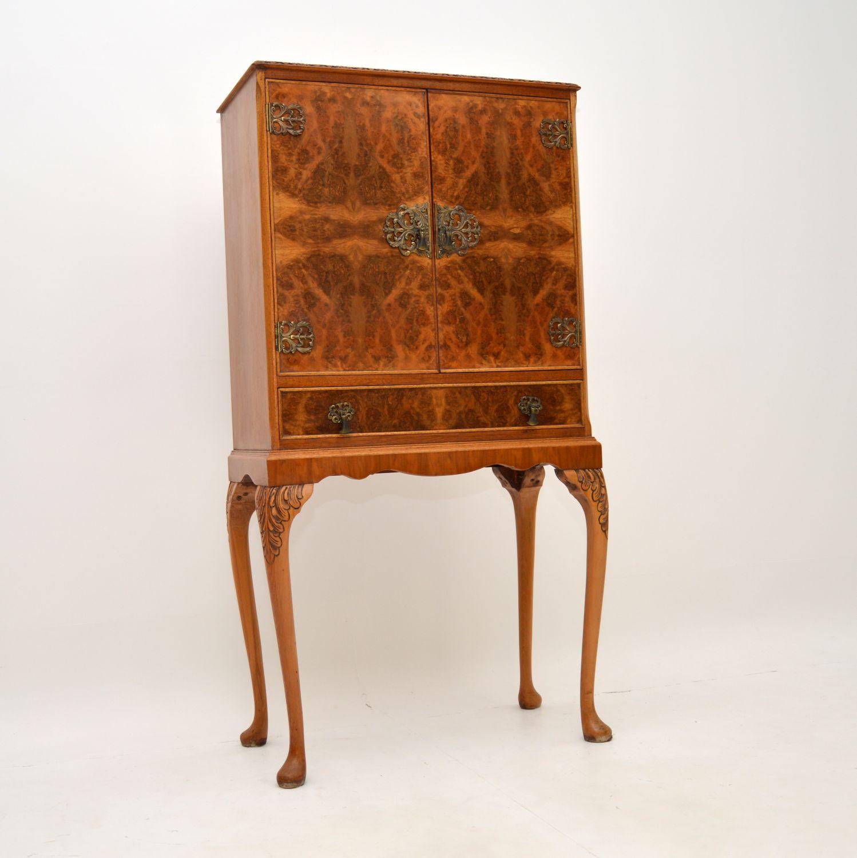 antique queen anne burr walnut drinks cocktail cabinet