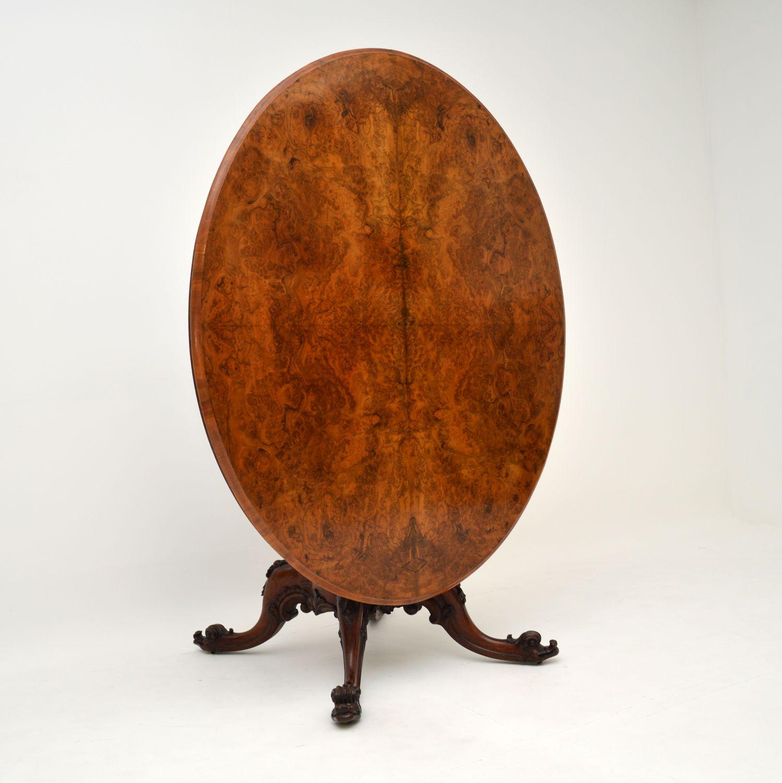 antique victorian burr walnut loo dining table