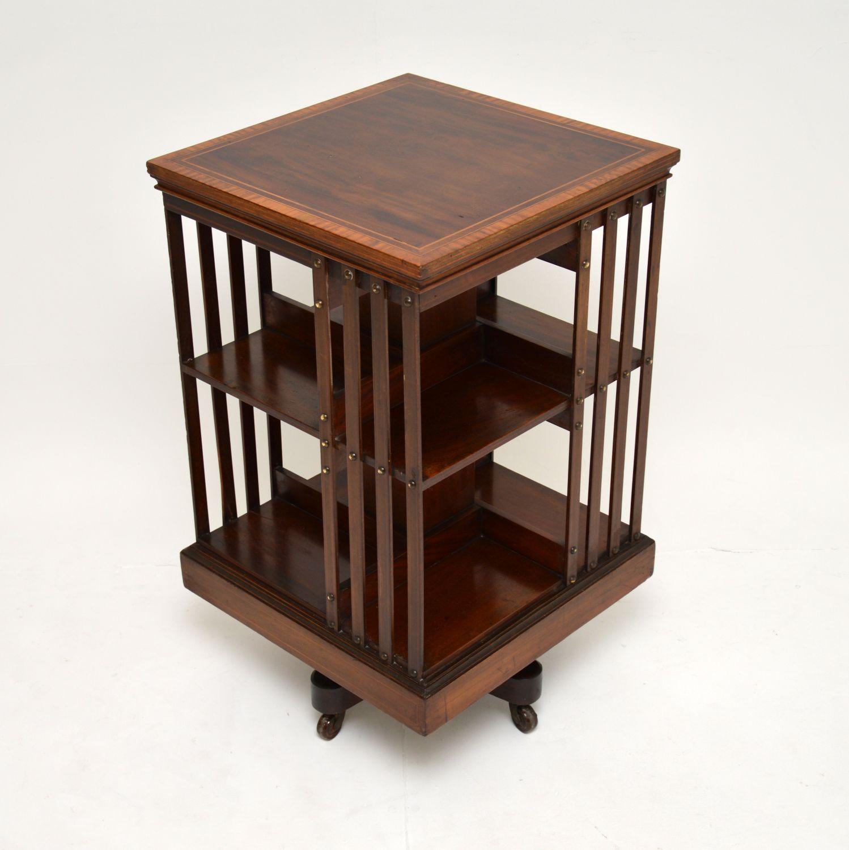 antique victorian edwardian mahogany revolving bookcase
