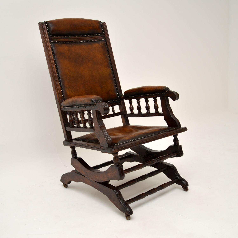 antique victorian leather oak rocking chair armchair