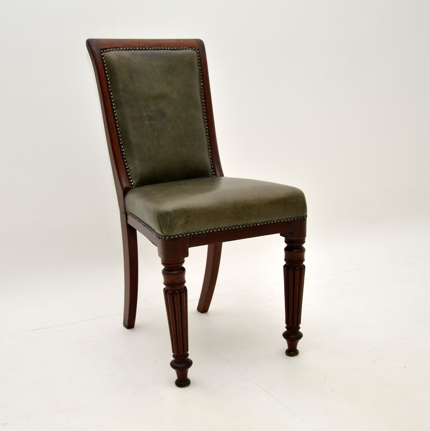 antique victorian mahogany leather desk chair side chair