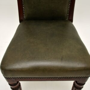 Antique Victorian Solid Mahogany & Leather Desk / Side Chair