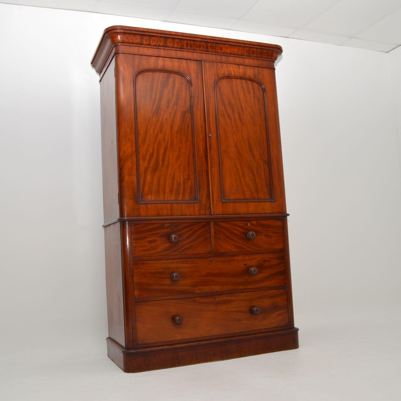 antique william IV victorian mahogany linen press wardrobe