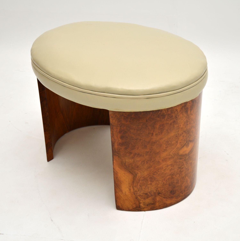 art deco burr walnut leather stool