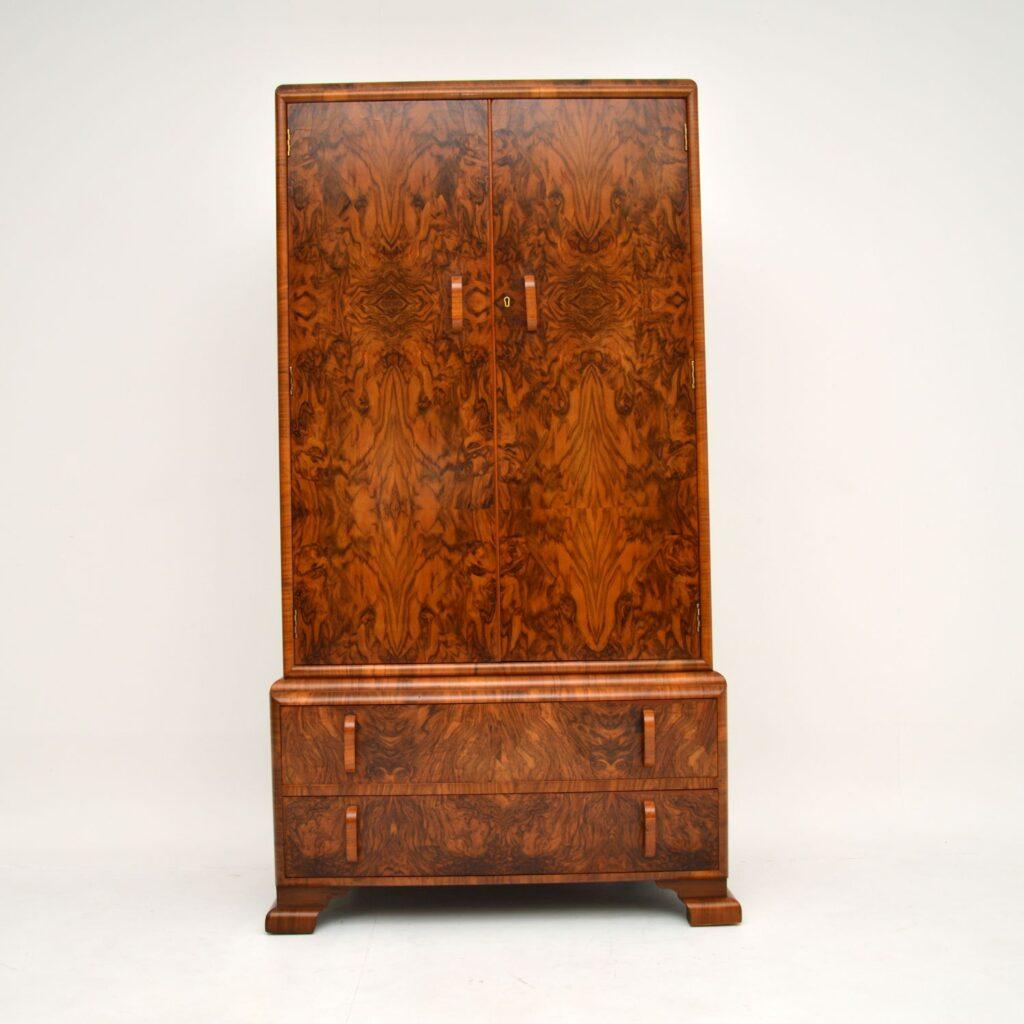 antique art deco burr walnut wardrobe tallboy